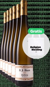 A.J. Adam 6x Dhroner Hofberg Riesling Kabinett 2019 + Tragetasche