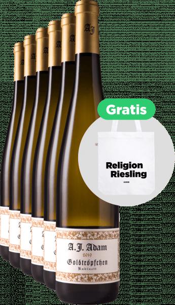 A.J. Adam 6x Piesporter Goldtröpfchen Riesling Kabinett 2019 + Tragetasche